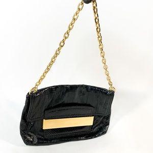 JIMMY CHOO Black/Gold Chain Leather Shoulder Bag